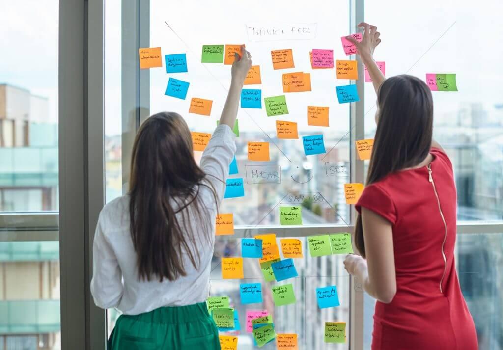 Agile training coordination team brainstorms on courses