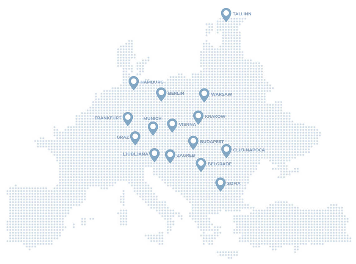 A map showing the location of Sprint Consulting's clients: Budapest, Belgrade, Sofia, Cluj-Napoca, Zagreb, Vienna, Krakow